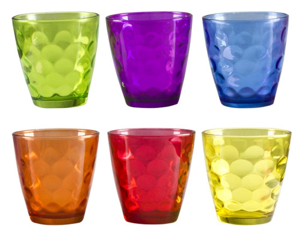 Set 6 bicchieri in vetro colorati 240 ml beper for Bicchieri colorati vetro